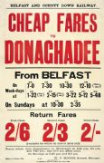 Irish Railway Timetable Poster, Cheap Fares to Donaghadee From Belfast, North Ireland